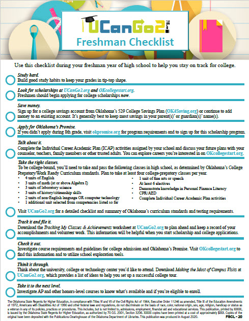 Links to college planning checklists for high school students