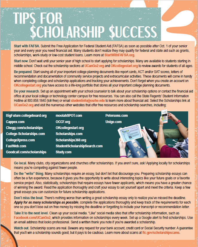 PDF of Scholarship Success Guide opens in a new tab.